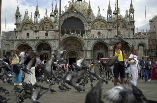 JFstmarkpigeons - St. Mark' Basilica, with the pigeon-populated square in the foreground. Feed them? Sure. But bring something with you to wipe off the inevitable results.