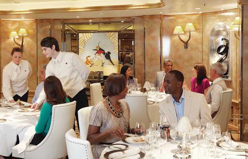 Cunard-Queen-Elizabeth-Verandah-Restaurant - The Verandah Restaurant aboard Queen Elizabeth offers an array of French cuisine for guests.