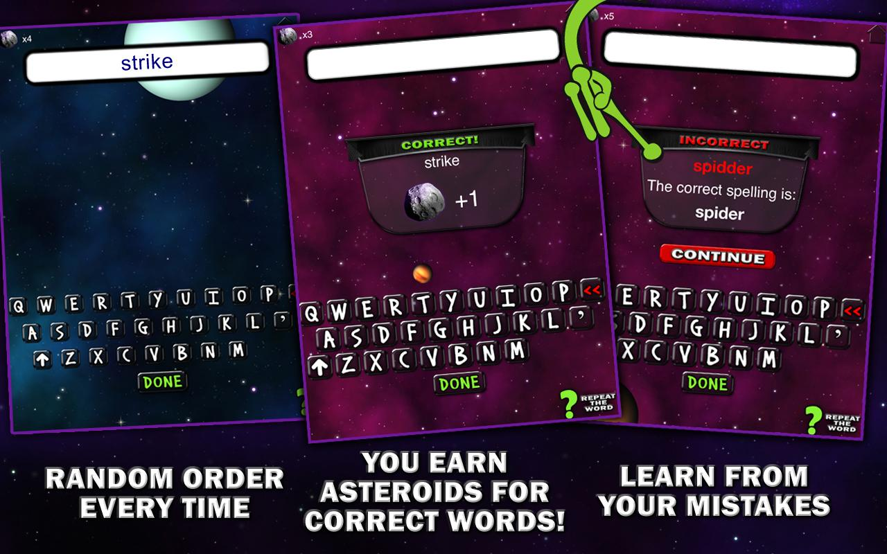 Spelling Space - 5th Grade - screenshot