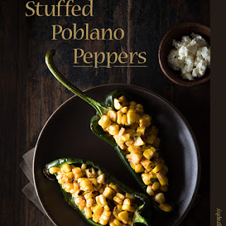 Corn-Stuffed Poblanos with Ancho Chili Butter.