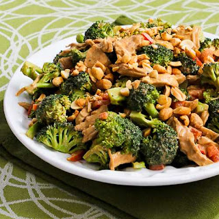 Chicken, Broccoli, and Red Bell Pepper Salad with Peanut Butter Dressing.