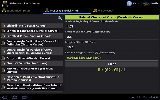 Highway and Road Calc. Tablet screenshot
