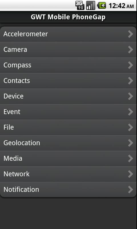 GWT Mobile PhoneGap Showcase- screenshot