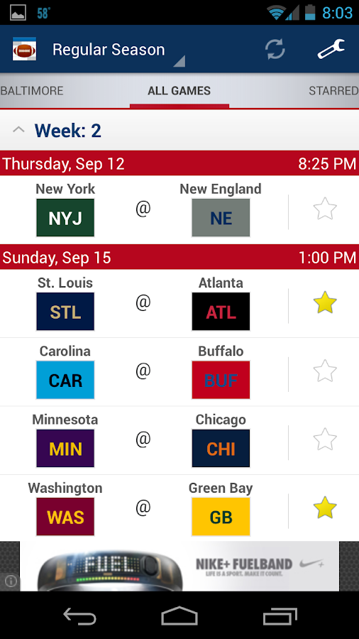 Football Schedule 2014 - screenshot