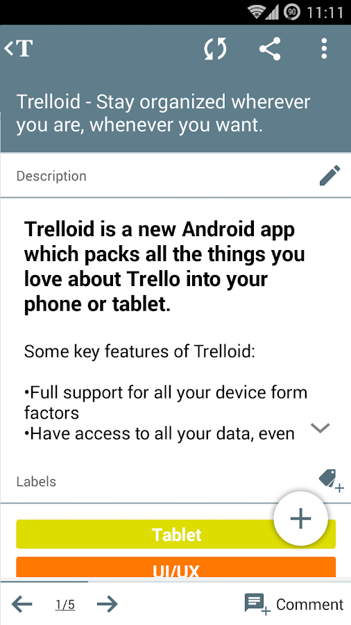 Trelloid- screenshot