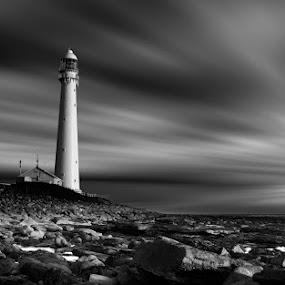 Kommetjie Lighthouse by Elmer van Zyl - Black & White Landscapes ( hdr, black and white, kommetjie, cape town, noordhoek, south africa, noordhoekchallenge )
