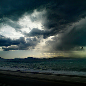 Sun Rays.. by Dimitra Antonopoulou - Instagram & Mobile Android ( clouds, sky, waves, sea, road, sun rays )