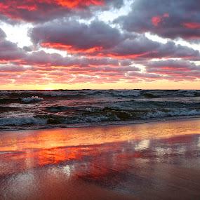 Red Lake by Jeremy Church - Landscapes Sunsets & Sunrises ( clouds, water, lake michigan, sunset, michgan, beach )