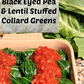 Cajun Black Eyed Pea and Lentil Stuffed Collard Greens.