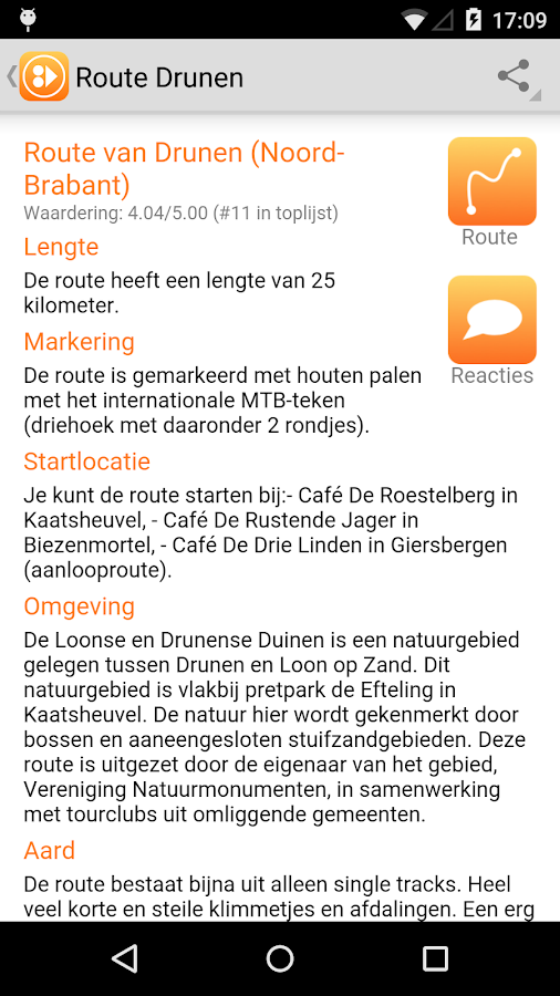 MTBroutes - Alle NL MTB routes: screenshot