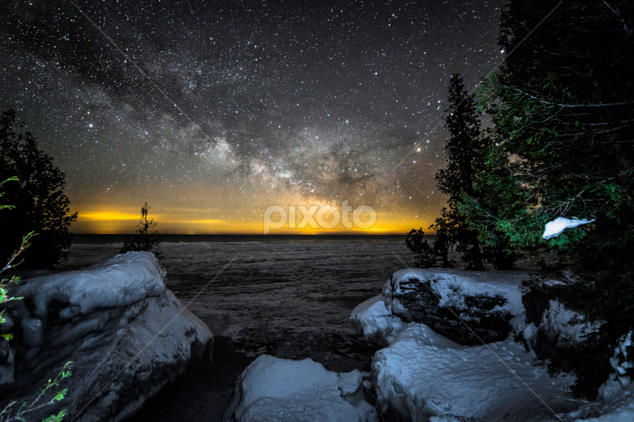 Dawn is Approaching by Andy Taber - Landscapes Starscapes ( shore, planets, sky, stars, lake, beach, space, landscape, starscape, venus, milky way, galaxy, , snow, winter, cold )