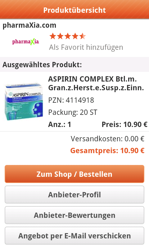 Medikamente-Preisvergleich - screenshot