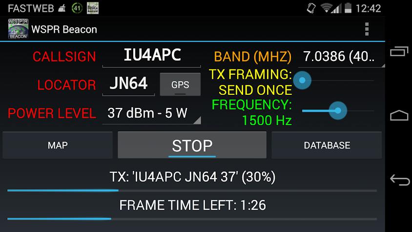 WSPR Beacon for Ham Radio Screenshot