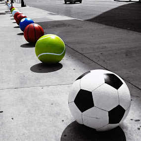 Balls at Fed Ex Forum by Deborah Russenberger - Artistic Objects Other Objects ( balls, sports, b&w selective color,  )