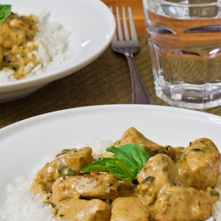 Curry Chicken in Basil Coconut Sauce.