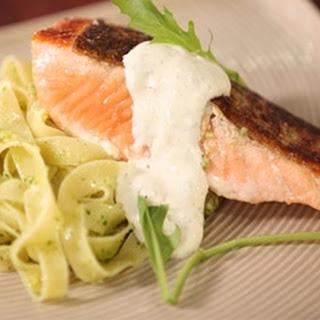 Grilled Crispy Salmon Tagliatelle