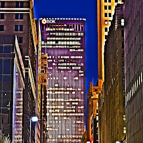 Downtown Tulsa in HDR by Beckie Caughman - Buildings & Architecture Office Buildings & Hotels ( tulsa, building, hdr, night, light, , Urban, City, Lifestyle )