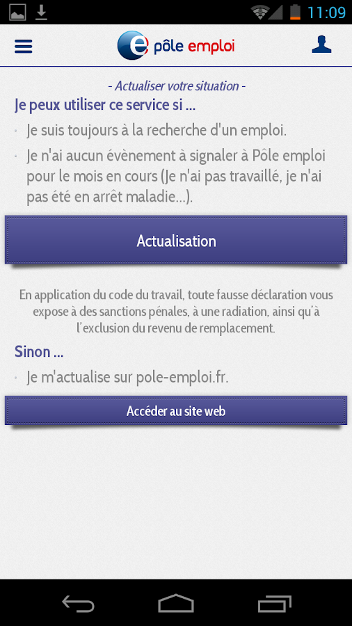 application mobile p le emploi applications android sur google play. Black Bedroom Furniture Sets. Home Design Ideas