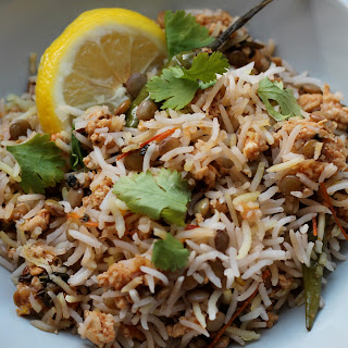 Simple Mincemeat Biryani - Basmati rice dish.