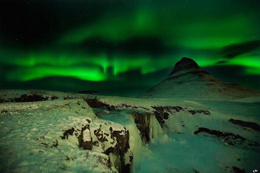 A spooky-spectacular aurora borealis near Auster-Skaftafellssysia, Iceland.