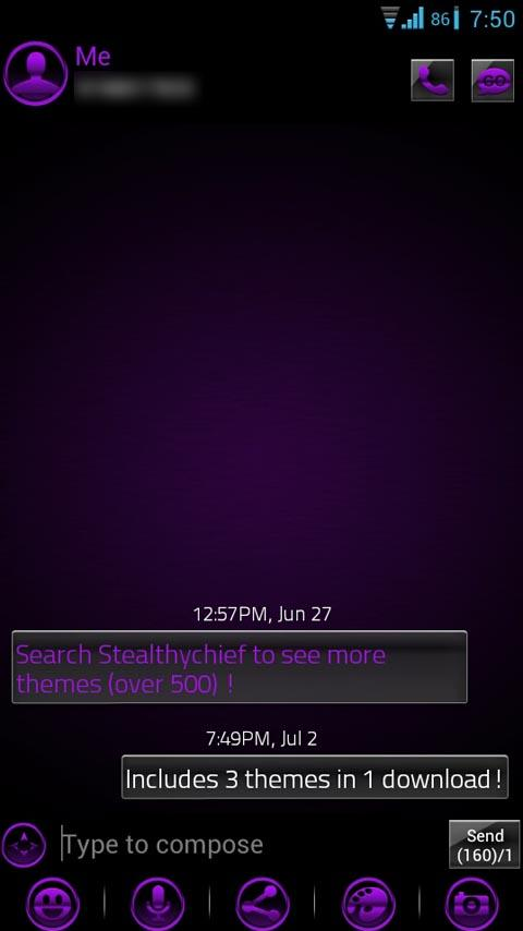 GO SMS Purple Platinum Theme- screenshot
