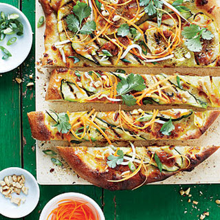 Thai Peanut Summer Squash Pizzas