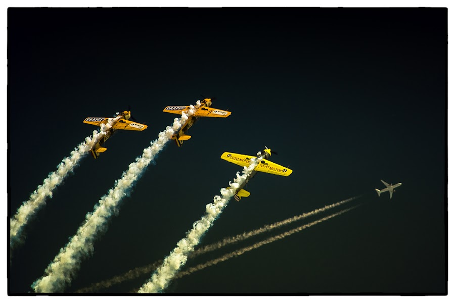 Aerobatic Yakkers vs. Airliner by Razvan Negrea - Sports & Fitness Other Sports ( plane, yak52, aerobatic yakkers, aerobatic, airshow )