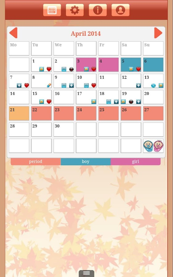 Menstrual Cycle Tracker - screenshot