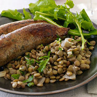 New Year's Day Sausages with Garlic Lentils.