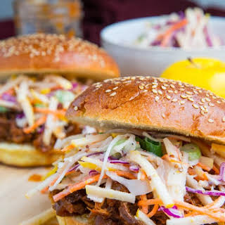 Apple BBQ Pulled Chicken Sandwiches with Apple Slaw.