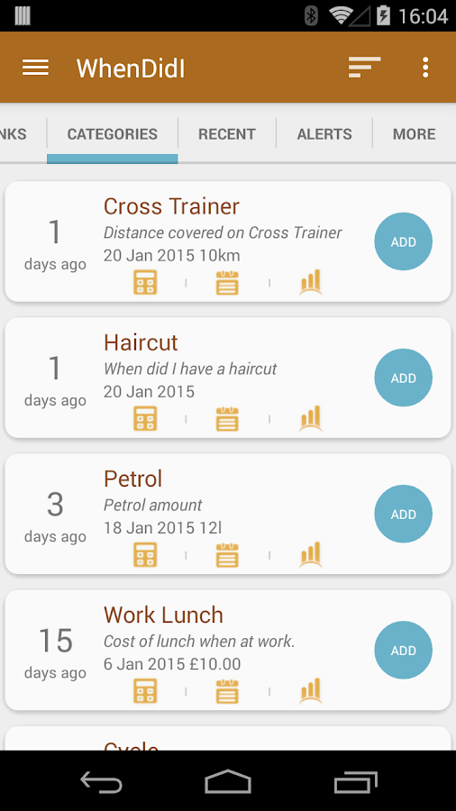 WhenDidI Lite - Event Tracker- screenshot