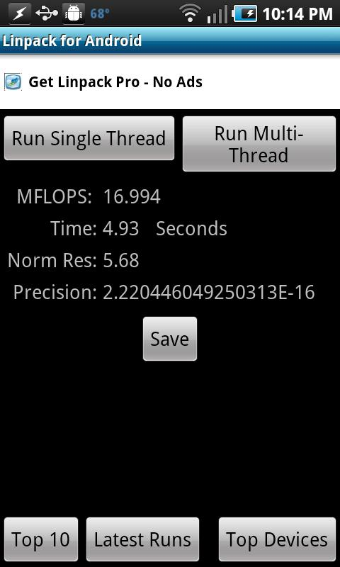 Linpack for Android - screenshot
