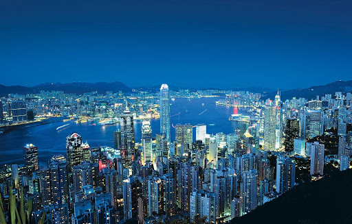 Hong-Kong-view-Victoria-Peak-night - The lights of Hong Kong from Victoria Peak, Hong Kong.