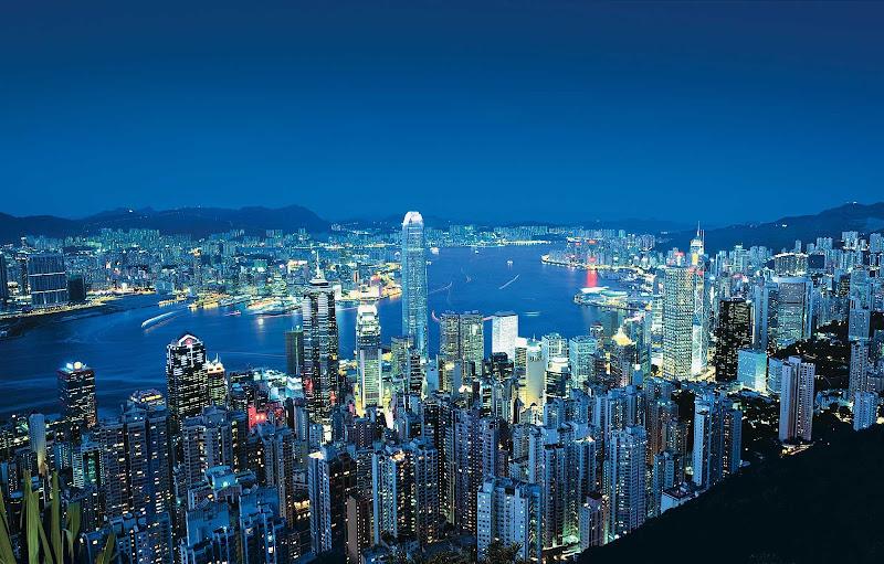 The lights of Hong Kong from Victoria Peak, Hong Kong.