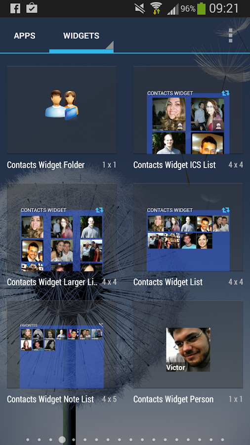 Contacts Widget - screenshot