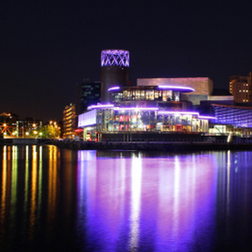 Night Reflections at Salford Quays by Mandy Jervis - Buildings & Architecture Office Buildings & Hotels ( salford quays manchester uk reflections lights night water buildings architecture offices theatre )