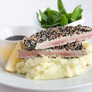 Tuna Steaks With Wasabi Mash And Sugar Snap Peas