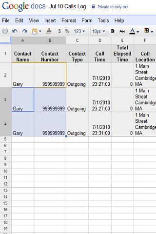 Call To Spreadsheet- screenshot