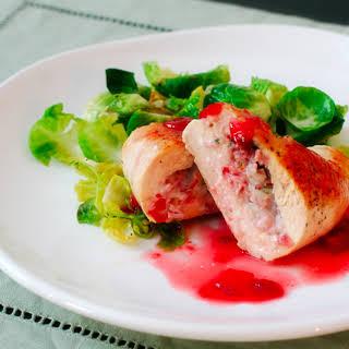 Gorgonzola-Stuffed Chicken Breasts with Strawberry Gastrique.