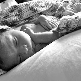 Uriah by Dawnadine Yazzie-Harvey - Black & White Portraits & People ( love, peaceful, black and white, happy, innocence, baby, sleep, boy )