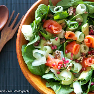 Smoked Salmon Salad with Cucumbers, Toasted Walnuts, Pomegranate Seeds, Avocados and Baby Spinach.