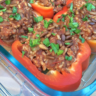 Lebanese Stuffed Peppers with Cinnamon and Toasted Pine Nuts.
