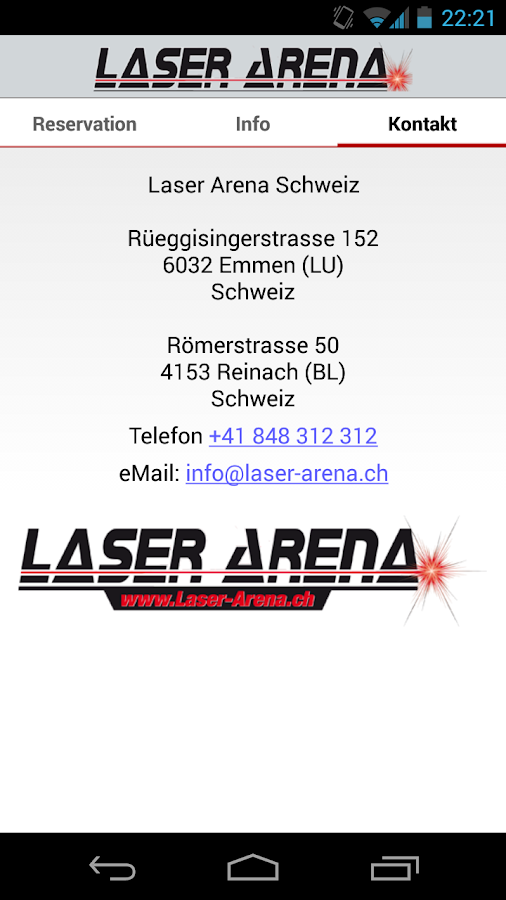 Laser Arena App- screenshot