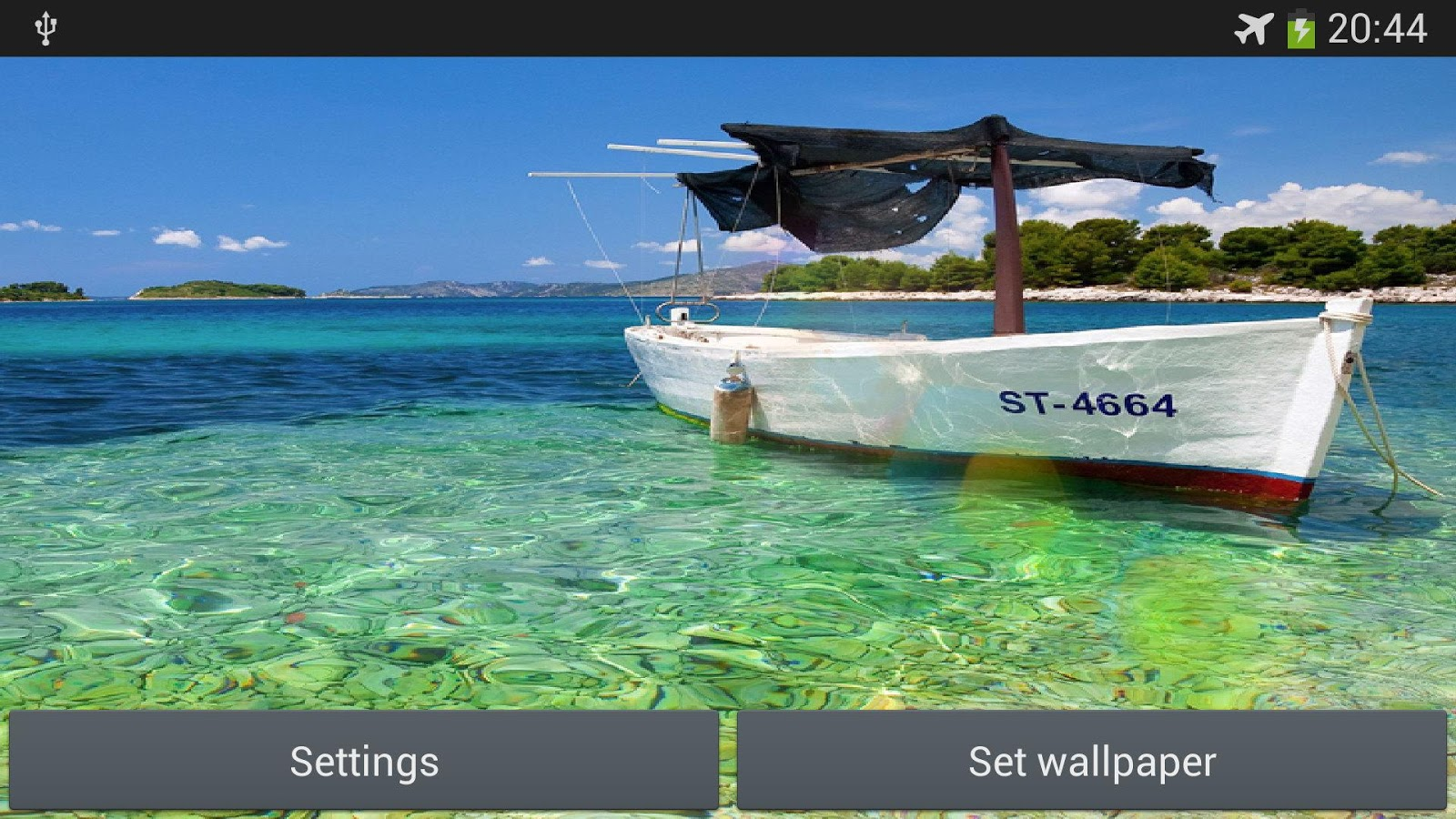 Boat on the sea live wallpaper - screenshot