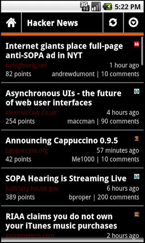 Hacker News Droid - screenshot