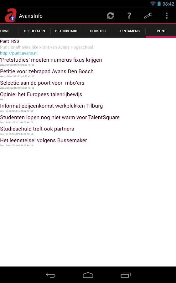 AvansInfo (Rooster, Cijfers) - screenshot