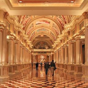 Hallway in a Hotel by Vikram Mehta - Buildings & Architecture Office Buildings & Hotels ( las vegas, orange, hotel, hallway, lavish, light, Urban, City, Lifestyle )
