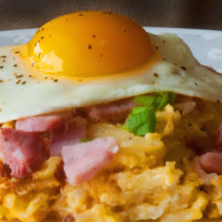 Hash brown Casserole, Ham and Eggs.