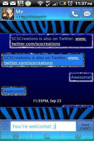 GO SMS - Blue Zebra
