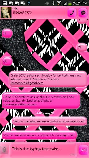 GO SMS - Wild Pink Zebra